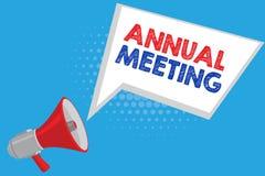 Handschriftstext Jahresversammlung Das Konzept, das jährliche Versammlung einer Organisation bedeutet, interessierte Aktionäre vektor abbildung
