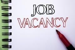 Handschriftstext Job Vacancy Konzeptbedeutung Arbeits-Karriere-freie Positions-Einstellungsbeschäftigungs-Neuzugang-Job geschrieb lizenzfreies stockfoto