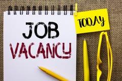 Handschriftstext Job Vacancy Konzeptbedeutung Arbeits-Karriere-freie Positions-Einstellungsbeschäftigungs-Neuzugang-Job geschrieb stockfotografie