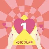 Handschriftstext 401K Plan Konzeptbedeutung qualifizierte Arbeitgeber geförderten Ruhestandsplan, der Angestellte weibliche HU-An lizenzfreies stockbild