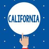 Handschriftstext Kalifornien Konzeptbedeutung Zustand auf Stränden Hollywood der Westküste Vereinigten Staaten von Amerika lizenzfreie abbildung
