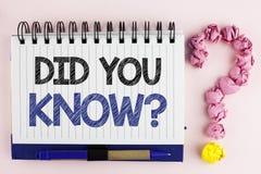 Handschriftstext kannten Sie Frage Konzeptbedeutung, die nach Tatsachen des Informationen Lappalien-Wettbewerbs geschrieben auf N lizenzfreie stockbilder
