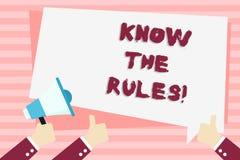 Handschriftstext kennen die Regeln Konzeptbedeutung verstehen, dass Bedingungen Rechtsberatung von den Rechtsanwälten übergeben e lizenzfreie abbildung
