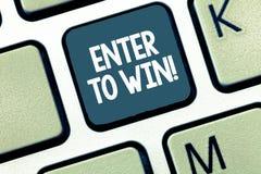 Handschriftstext kommen herein, um zu gewinnen Konzept, welches die Lotterien versuchen das Glück, die große Preis Lotterie zu er stockbild
