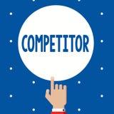 Handschriftstext Konkurrent Konzeptbedeutung Person, die am Werbungswettbewerb des Sport- Wettbewerbs teilnimmt stockfotos
