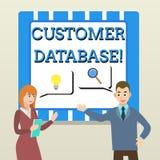 Handschriftstext Kunden-Datenbank Konzeptbedeutung aktuell auf Kundeninformationsaufzeichnungen und -daten Teilhabern vektor abbildung