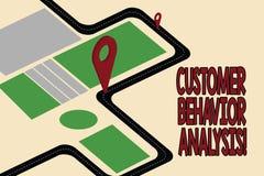 Handschriftstext Kunden-Verhalten-Analyse Konzept, das Einkaufsverhalten von Verbrauchern bedeutet, die Waren Straßenkarte-Naviga vektor abbildung