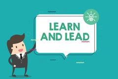 Handschriftstext lernen und führen Konzeptbedeutung verbessern die Fähigkeiten und das knowleadge, um für die Führung zu passen lizenzfreie abbildung