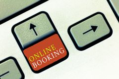 Handschriftstext on-line-Anmeldung Konzeptbedeutung Reservierung durch Internet Hotelunterkunft-Flugschein stockfotografie