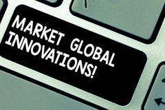 Handschriftstext Markt-globale Innovationen Konzept, das Verbesserung der Mischung von Zielmärkte Taste Absicht zu bedeutet lizenzfreie abbildung