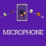 Handschriftstext Mikrofon Konzeptbedeutung Instrument für die Umwandlung von den übertragen zu werden Schallwellen notierte lizenzfreie abbildung