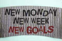 Handschriftstext neue neue Wochen-neue Ziele Montages Konzept, das nächste Woche Beschlüsse bedeutet, die Liste Ziel-Ziele zu tun Stockfoto