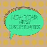 Handschriftstext neues Jahr-neue Gelegenheiten Konzeptbedeutung Neustart-Motivationsinspiration 365 Tage löschen ovalen umrissene stock abbildung
