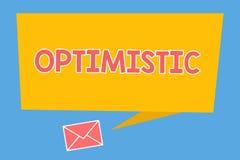 Handschriftstext optimistisch Konzeptbedeutung hoffnungsvoll und überzeugt hinsichtlich des zukünftigen positiven Denkens vektor abbildung
