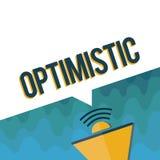 Handschriftstext optimistisch Konzeptbedeutung hoffnungsvoll und überzeugt hinsichtlich des zukünftigen positiven Denkens stock abbildung
