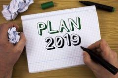 Handschriftstext Plan 2019 Konzept, das schwierige Ideen-Ziele bedeutet, damit neues Jahr-Motivation Konzept zu Information begin Lizenzfreies Stockfoto
