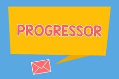 Handschriftstext Progressor Konzeptbedeutung Person, die Fortschritt macht oder ihn in anderen Motivation erleichtert lizenzfreie abbildung