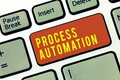 Handschriftstext Prozessautomatisierung Konzeptbedeutung Umwandlungs-stromlinienförmiges Roboter, zum von Redundanz zu vermeiden stockfoto