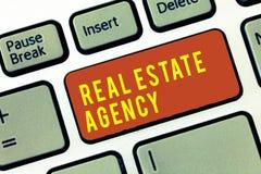 Handschriftstext Real Estate-Agentur Konzeptbedeutung Wirtschaftseinheit vereinbaren Verkaufs-Mietmiete handhaben Eigenschaften vektor abbildung