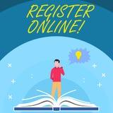 Handschriftstext registrieren online Konzept, das amtliche Börsennotierung oder Rekordvertretung bedeuten oder Sachen in Netz od lizenzfreie abbildung