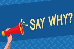 Handschriftstext Sagen Whyquestion Konzeptbedeutung geben einer Erklärung die Eilgründe, die eine Frage stellen stock abbildung