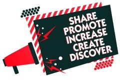 Handschriftstext-Schreiben Anteil fördern Zunahme schaffen entdecken Konzeptbedeutung Marketing-Inspirationsmotivation Megaphon l stock abbildung