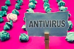 Handschriftstext-Schreiben Antivirus Konzeptbedeutung Verwahrungs-Sperren-Brandmauer-Sicherheits-Verteidigungs-Schutz-Sicherheits Stockfotos