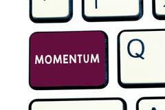 Handschriftstext-Schreiben Impuls Konzept, das Menge Bewegung des Bewegens gemessen als Produktmasse und -geschwindigkeit bedeute lizenzfreie stockbilder