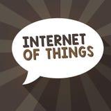 Handschriftstext-Schreiben Internet von Sachen Konzeptbedeutungsverbindung von Geräten zum Netz zu den Send-Receivedaten lizenzfreie abbildung
