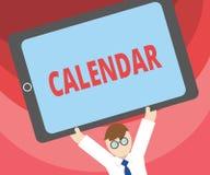 Handschriftstext-Schreiben Kalender Konzeptbedeutung paginiert das Zeigen von Tageswochenmonaten bestimmter Jahr Anzeige stock abbildung