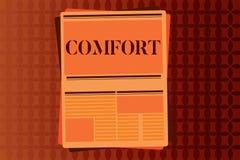 Handschriftstext-Schreiben Komfort Konzept, das körperliche Leichtigkeit Freiheit von Schmerz Entspannung bequem stillsteht bedeu stock abbildung