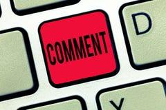 Handschriftstext-Schreiben Kommentar Konzept, welches die mündliche schriftliche Anmerkung ausdrückt in Verbindung stehende Reakt stockbild