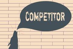 Handschriftstext-Schreiben Konkurrent Konzeptbedeutung Person, die am Werbungswettbewerb des Sport- Wettbewerbs teilnimmt lizenzfreie stockfotos