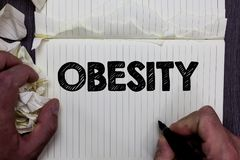 Handschriftstext-Schreiben Korpulenz Konzeptbedeutung Beschwerdenen-Überfluss des Körperfetts sammelte Gesundheitsproblem-Notizbu Lizenzfreie Stockbilder