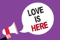 Handschriftstext-Schreiben Liebe ist hier Konzept, das romantisches reizendes Gefühl des Gefühls positive Ausdruck-Sorgfalt Joy M stock abbildung