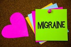 Handschriftstext-Schreiben Migräne Konzept, das rückläufige Kopfschmerzen in einer Seite Hauptübelkeit und gestörtem Vision Daume lizenzfreies stockfoto