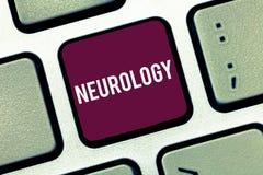 Handschriftstext-Schreiben Neurologie Konzeptbedeutung Gebiet der Medizin beschäftigend Störungen des Nervensystems lizenzfreie stockfotos