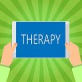 Handschriftstext-Schreiben Therapie Konzeptbedeutung Behandlung beabsichtigte, ein Störung Gesundheitswesen zu entlasten oder zu  vektor abbildung