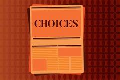 Handschriftstext-Schreiben Wahlen Konzeptbedeutung Wahlen, die zwischen zwei wählen oder mehr Möglichkeiten Entscheidungen vektor abbildung