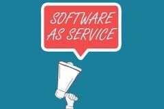 Handschriftstext Software als Service Konzept, das Bedarfs- genehmigt auf Abonnement und zentral bewirtet bedeutet lizenzfreie abbildung