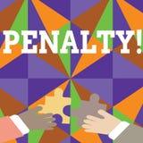 Handschriftstext Strafe Konzeptbedeutung Bestrafung, die für das Brechen einer Gesetzesregel oder des Vertrag Sports auferlegt wi lizenzfreie abbildung