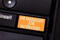 Handschriftstext Stunden-Manager Job Interview Konzept, das Einstellung huanalysis Betriebsmittel suchen nach Angestellten bedeut lizenzfreies stockbild