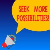 Handschriftstext Suchvorgang mehr Möglichkeiten Konzeptbedeutung Suche oder die Gelegenheiten von Joint Venture Megaphon finden stock abbildung