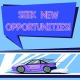 Handschriftstext Suchvorgang-neue Gelegenheiten Konzeptbedeutung, die einem neuen Job oder nach einem anderen Unternehmen Auto mi stock abbildung