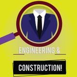 Handschriftstext Technik und Bau Konzeptbedeutung, die Fachkenntnisse an Infrastruktur Vergrößern anwendet stock abbildung