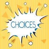 Handschriftstext Wahlen Konzeptbedeutung Wahlen, die zwischen zwei wählen oder mehr Möglichkeiten Entscheidungen lizenzfreie abbildung