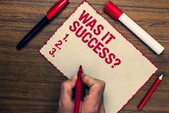 Handschriftstext war es Erfolgs-Frage Konzept, das glückliches Gefühl bedeutet, nachdem Erfolg in Markierungsstifte des Lebens dr Lizenzfreie Stockfotografie