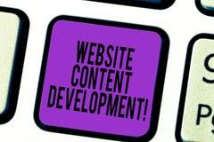 Handschriftstext Website-Inhalts-Entwicklung Konzeptbedeutungsprozeß der Ausgabe von Informationen, denen Leser nützliche Tastatu stockbild