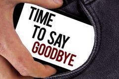 Handschriftstext Zeit Abschied zu nehmen Der Konzeptbedeutung Trennungs-Moment, der Auseinanderbrechen-Abschied lässt, wünscht da Lizenzfreie Stockfotografie
