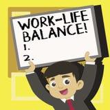 Handschriftstextschreiben Arbeits-Leben-Balance Konzept, das Zeiteinteilung zwischen Funktion oder Familie und Freizeit bedeutet lizenzfreie abbildung